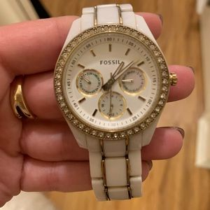 White/Gold Fossil Watch